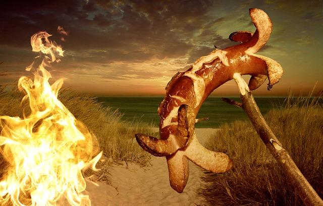 klobása, oheň a zákoutí vody